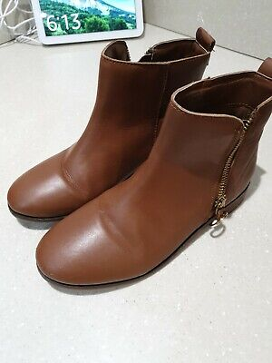 Girls Next Tan Leather Zip up Ankle Boots Size 2 NEW RRP £38