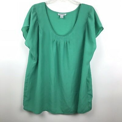 Motherhood Maternity Womens Size XL Green Short Sleeve Polyester Blouse Top