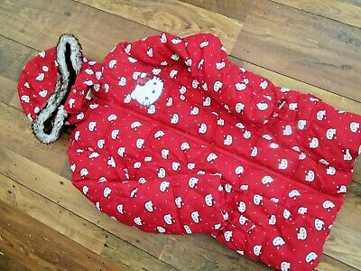 Tu @ Sainsburys Hello Kitty Red Hooded Girls Long Coat With Fur Trim Age 9-10