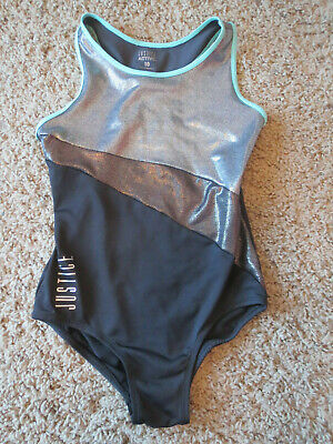 Justice Active Girl's Swimsuit size 10, black turqoise shiny,  polyester