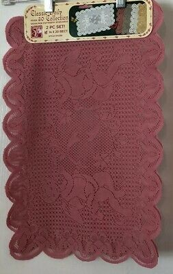 (1) 2pc set~American Crafts~Classic Lace Doily 14 x 20 Rectangle~Rose NOS