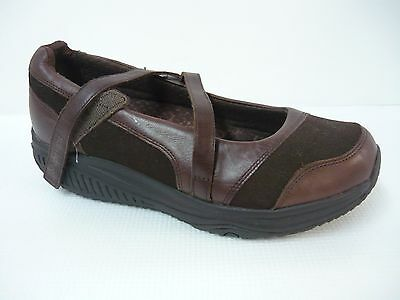 Skechers Shape-Ups Brown Leather Mary Janes Walking Shoes Size 9