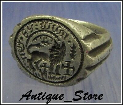 ** WOW **  LION and CROSSES  ** Ancient  Silver Byzantine Inscription Ring