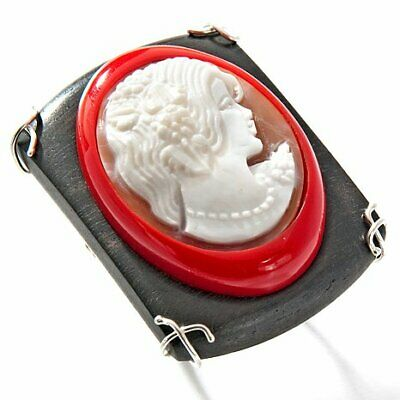 Italy Cameo Ebony Wood Sterling Simulated Coral with 30mm Sardonyx Cameo Ring 9