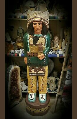 (WC7) Hand Carved Wood 4ft Cigar Store Indian