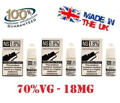 Nicotine Shots Nic Shots 18 mg /15mg 70% or 100%VG For Cloud Chaser-Premium - UK