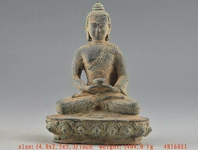 Auspicious Chinese Old copper Collectable Handwork Carving Buddha Statue