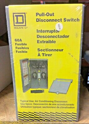 Square D FP222R 60 Amp Fusible Pull-Out Air Conditioning Disconnect Switch