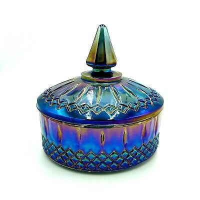 Vintage Blue Princess Indiana Carnival Glass Trinket Bowl Candy Bowl with Lid