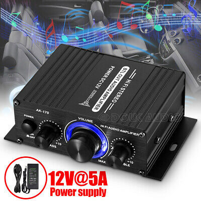Stereo Motorcycle Car Power Amplifier Mini 12V Auto Boat Home Digital Audio Amp