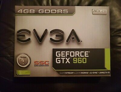 EVGA GeForce GTX 960 4GB SSC GAMING ACX 2.0+, Whisper Silent Cooling w Backplate