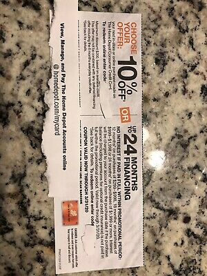 Home Depot Coupon 10% off OR Up To 24 Months Interest Financing - USPS Shipping