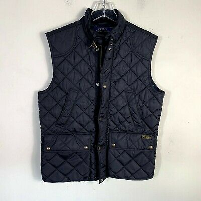Men's Polo Ralph Lauren Size M Black Puffer Vest Plaid Lined Full Zip Snap