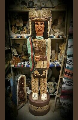 (WC8) Hand Carved Wood 5ft Cigar Store Indian