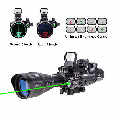 Pinty 3 in 1 4-12x50EG Rifle Scope with Red/Green Dot Sight Scope&Green Laser