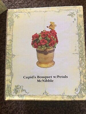 BOYDS BEAR TREASURE BOX CUPID/'S BOUQUET W//PETALS MCNIBBLE  #82060 RETIRED NWT!!