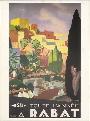 Vintage World Travel Poster RABAT Morocco Africa MARRAKESH Moslem Mosque