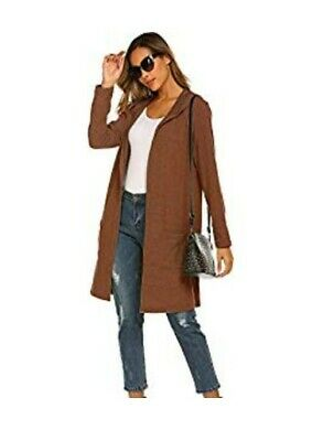 Womens Casual Knitted Long Sleeve hooded Cardigan Sweater with pockets