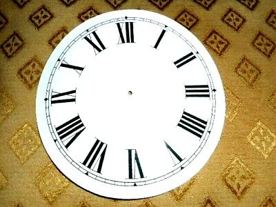 "Round Paper (Card) Clock Dial - 4 1/8"" M/T - Roman - WHITE GLOSS - Parts/Spares"