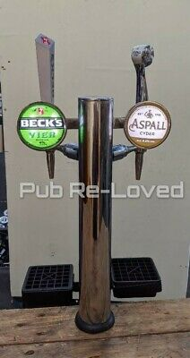 Aspells Cyder And Becks Lager Twin Chrome Beer Pump /Font Taps And Handles