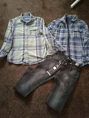 Bundle of boys clothes jeans and next lined shirts size 11-12 years