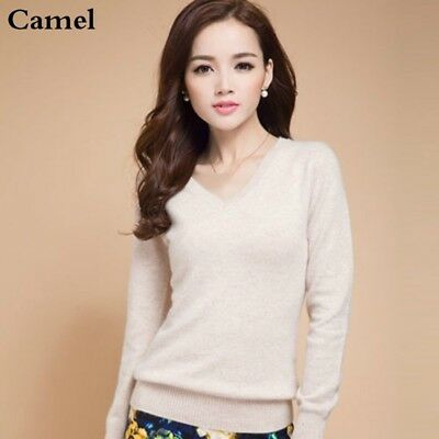 Lady V Neck Wool Blend Sweaters Pullover Furry Jumper Warm Winter Tops Slim Soft