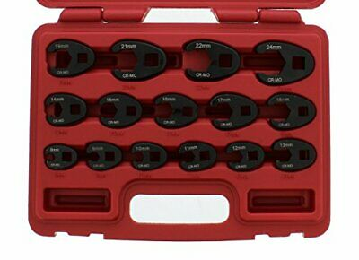 Jumbo Crowfoot Flare Nut Wrench Set Metric 15-Piece Tool Kit for 3/8in and