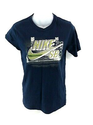 NIKE SB Girls T Shirt Top 12-13 Years Navy Blue Cotton