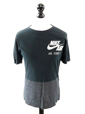 NIKE AIR FORCE 1 Mens T-Shirt Top S Small Black White Cotton