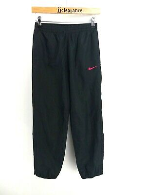 NIKE Girls Tracksuit Bottoms Joggers Medium 10-12 Years W26 L27 Black Polyester