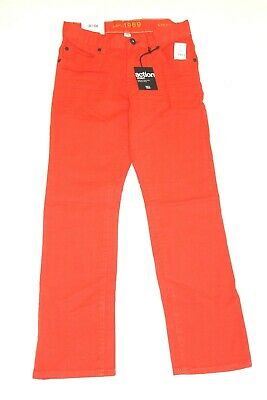 Gap Kids Boys 12  Regular Bright Orange Jeans 1969 Straight Action Stretch New