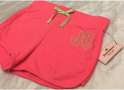 """Juicy Couture Girls Sz 14 Pink Knit Jogger Shorts """"Tropical Rainbow"""" NEW"""