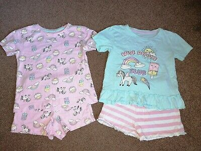 2 Pairs Of Girls Shorts Unicorn Pyjamas From Matalan 3-4 Years