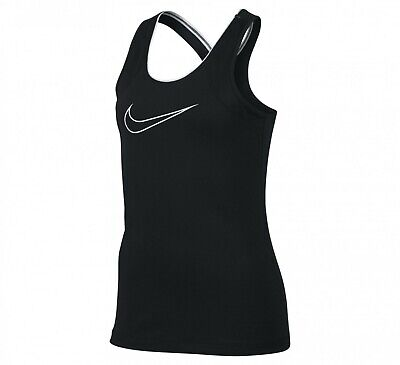 Nike Girls Pro Sports Vest Top - Running Gym Pe Tank Tops - Black Rrp £25