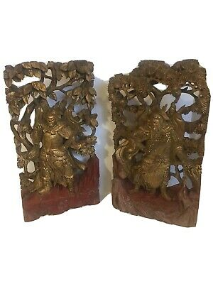 Antique Pair Of Chinese Hand Carved Pierced Wood Gold Gilt Warrior Wall Panels