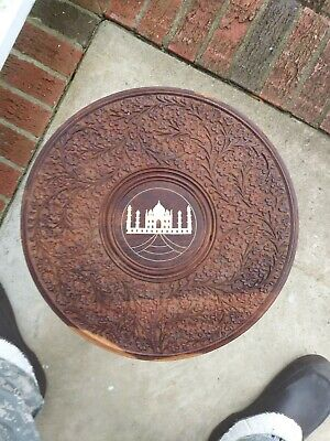 Eastern Indian Style Carved TAJ MAHAL Inlaid Wood Table with Folding Base