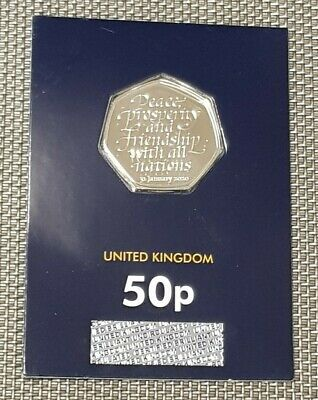 2020 Brexit UK 50p Coin.Brilliant Uncirculated,Bunc/unc/Bu,Sealed GB Fifty Pence