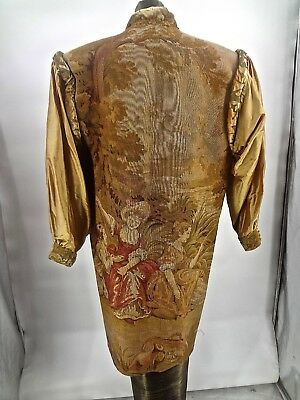 Magnificent Gallery of Wearable Art Antique Figural Tapestry & Silk Coat OOAK