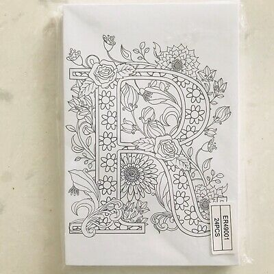 Ganz Wama Colouring Letter R - Set of 24 Monogram Postcards to Colour Initial