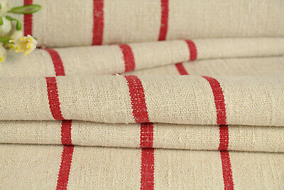 TW 550 antique french linen roll offwhite, tomato red striped, washed 5.03 yards