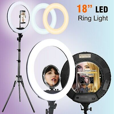 "19""5500K Dimmable Diva LED Ring Light Diffuser Stand Mirror Make Up Studio Video"