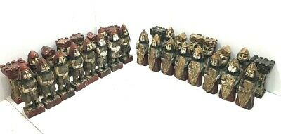 "Antique Hand Carved Wooden Chess Set: Large Pieces 10"" ~ Folk Art CHESS SET-"