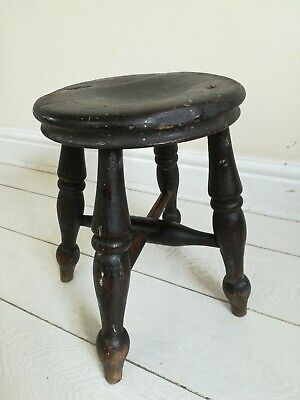 Antique Victorian Ash Elm Farmhouse Milking Stool 4 Turned Legs Cross base