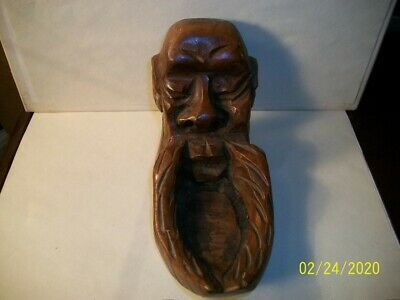 Antique: 1940s Hand Carved Solid Wooden Asian Trinket / Ashtray Dish.