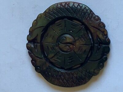 Chinese Carved Dragons Round Green Stone Amulet Pendant