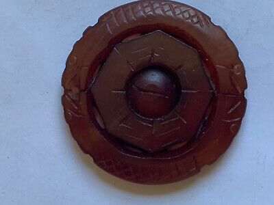 CHINESE HAND CARVED DRAGONS ROUND BROWN STONE PENDANT, 2 inches