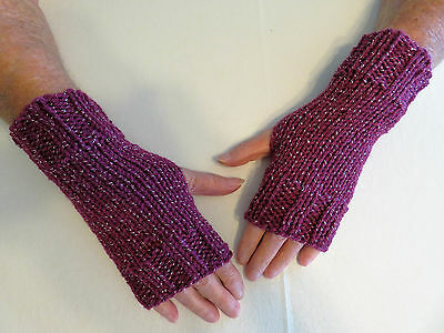 Hand Knit Fingerless Gloves- Wrist Warmers-Texting Gloves-Razzleberry Metallic
