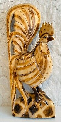 "24"" Tall Large Hand Carved Wood Folk Art Rooster Statue Figure Display Vintage"