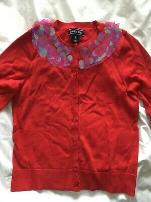 girls Lands End red sophie cardigan age 7 - 8 years sequins new in bag