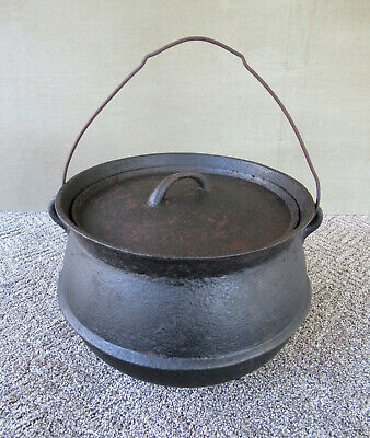 "Antique Pot Cast Iron Kettle with Lid, Large 9"" Tall 3 Legs 4 Gallons, 1860-1890"